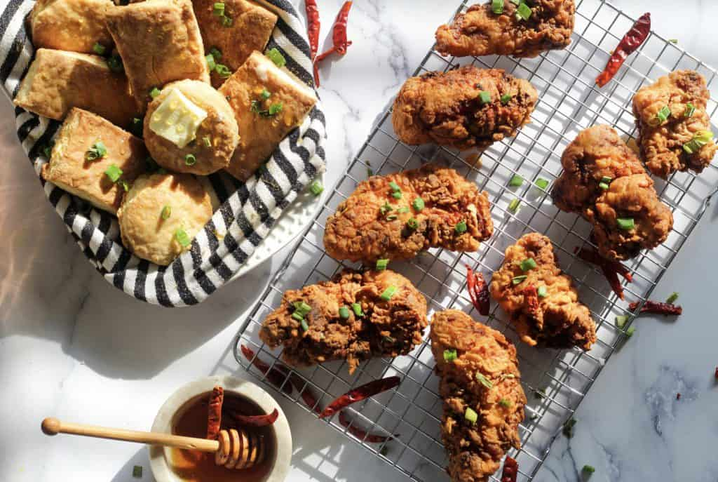 fried chicken and biscuits