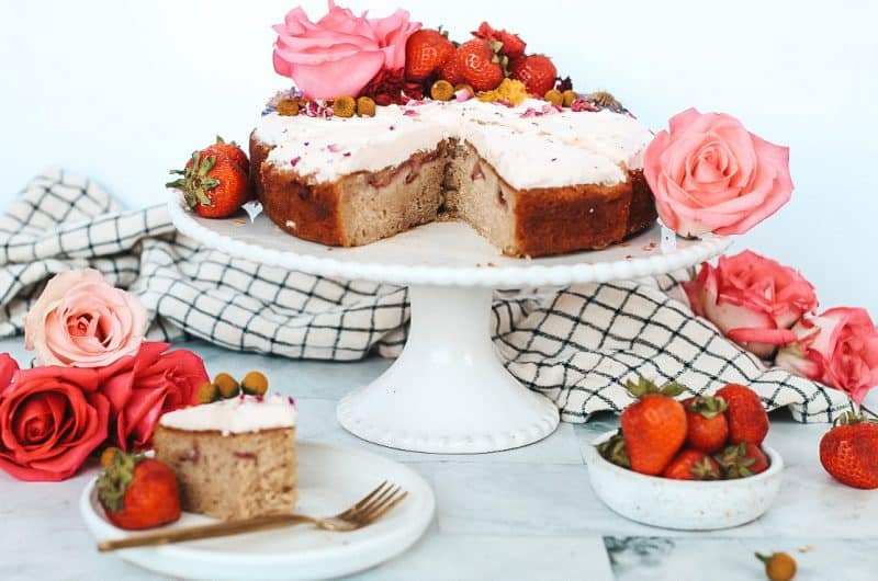 Strawberry Rose Maple Cake with Champagne Buttercream