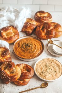 smoked gouda dip with pretzels
