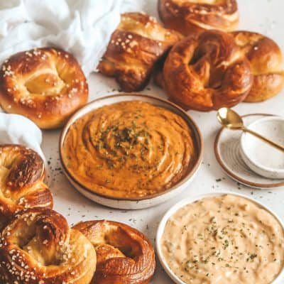 Brioche Pretzels with Smoked Gouda Beer Cheese Dip